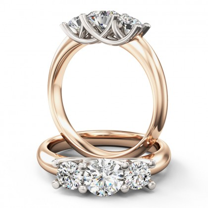 An elegant Round Brilliant Cut three stone diamond ring in 18ct rose & white gold
