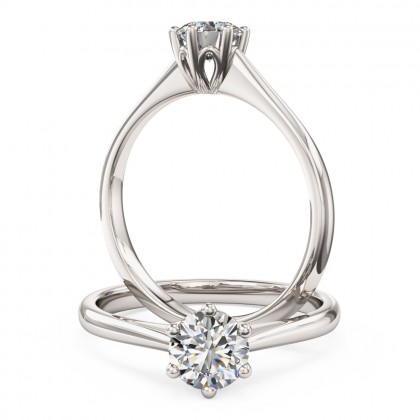 A beautiful Round Cut solitaire diamond ring in platinum