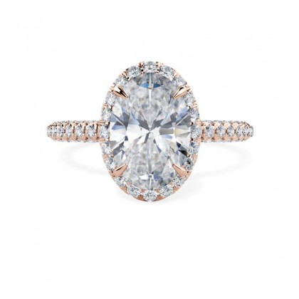 A stunning oval cut diamond halo cluster in 18ct rose gold