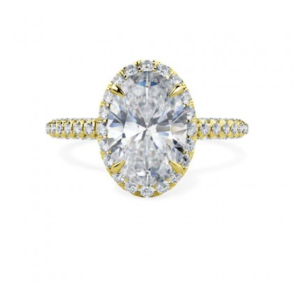 A stunning oval cut diamond halo cluster in 18ct yellow gold