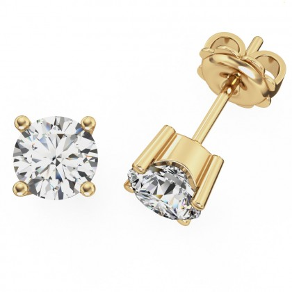 A pair of round brilliant cut diamond earrings in 18ct yellow gold
