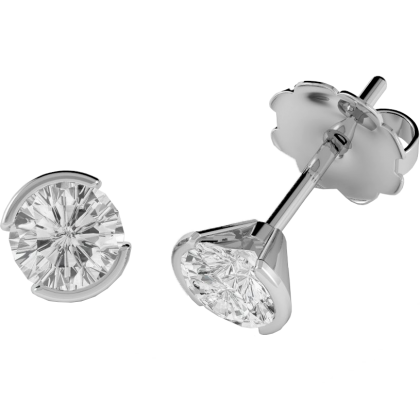 An elegant pair of Round Brilliant Cut diamond earrings in 18ct white gold