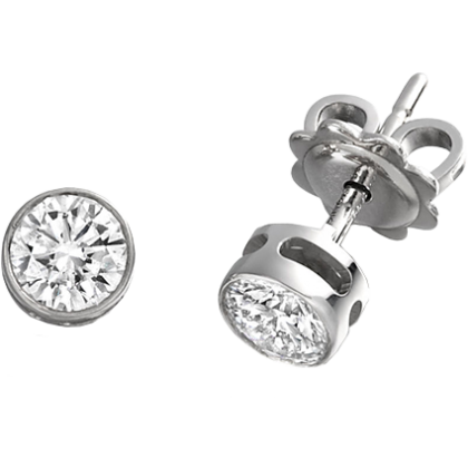 A stylish pair of Round Brilliant Cut diamond earrings in 18ct white gold