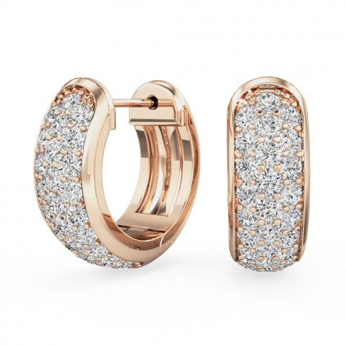 A beautiful pair of round brilliant cut diamond hoop earrings in 18ct rose gold