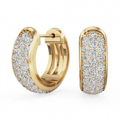 A beautiful pair of round brilliant cut diamond hoop earrings in 18ct yellow gold