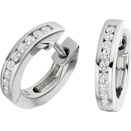 An elegant pair of Round Brilliant Cut diamond hoop earrings in 18ct white gold