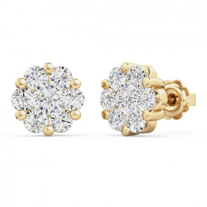 A striking pair of round brilliant cut diamond cluster earrings in 18ct yellow gold