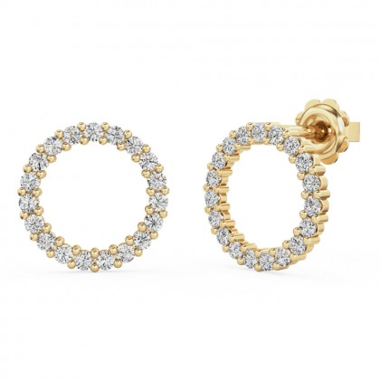 A stunning pair of round brilliant cut diamond Halo earrings in 18ct yellow gold