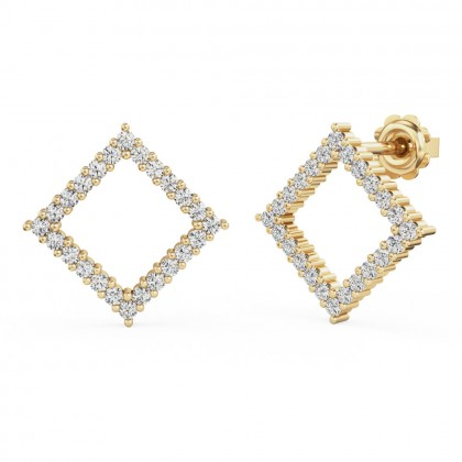 A stunning pair of round brilliant cut diamond square halo earrings in 18ct yellow gold