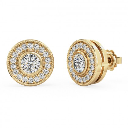 A timeless pair of round brilliant cut diamond cluster earrings in 18ct yellow gold