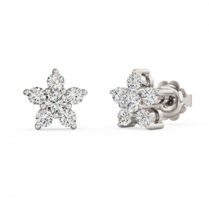 A striking pair of Round Brilliant Cut diamond earrings in 18ct white gold