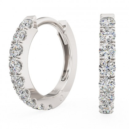 An elegant pair of Brilliant Cut diamond huggy earrings in 18ct white gold