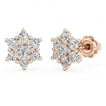 A beautiful pair of diamond seven stone cluster earrings in 18ct rose gold