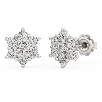 A beautiful pair of diamond seven stone cluster earrings in 18ct white gold
