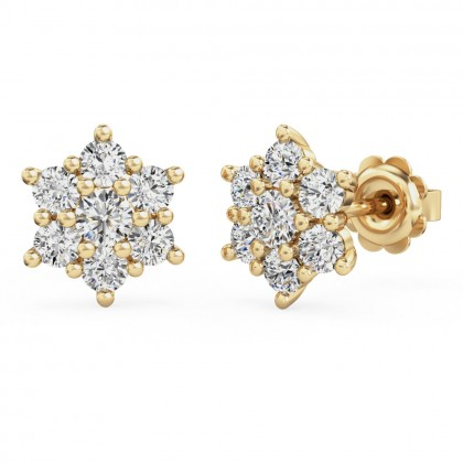 A beautiful pair of diamond seven stone cluster earrings in 18ct yellow gold