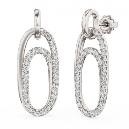 A beautiful pair of brilliant cut diamond drop style earrings in 18ct white gold