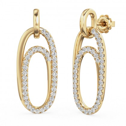 A beautiful pair of brilliant cut diamond drop style earrings in 18ct yellow gold