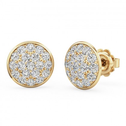 A beautiful pair of diamond cluster earrings in 18ct yellow gold
