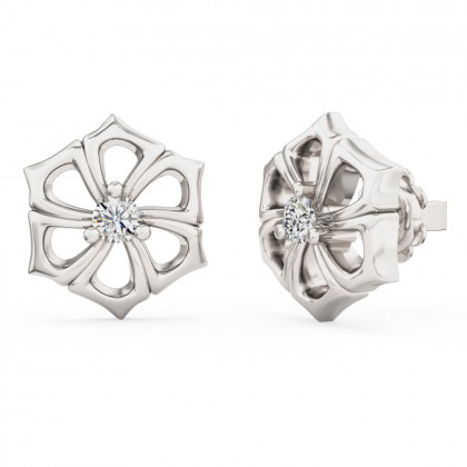 A beautiful pair of round brilliant cut diamond earrings in 18ct white gold