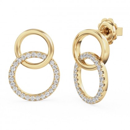A stunning pair of brilliant cut diamond hoop style earrings in 18ct yellow gold