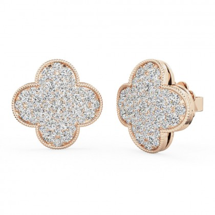 A stunning pair of brilliant cut diamond cluster style earrings in 18ct rose gold