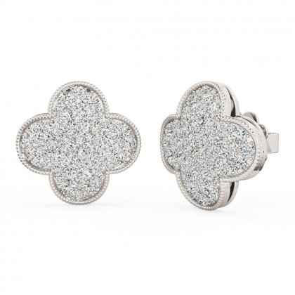 A stunning pair of brilliant cut diamond cluster style earrings in 18ct white gold