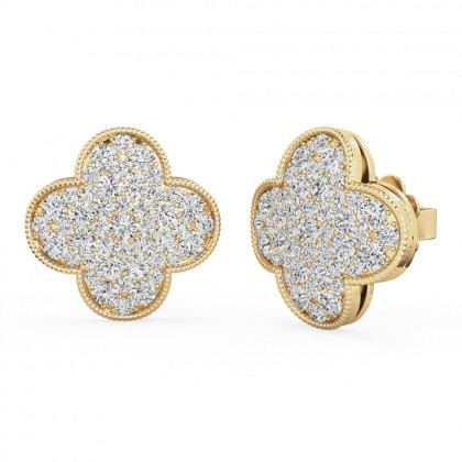 A stunning pair of brilliant cut diamond cluster style earrings in 18ct yellow gold