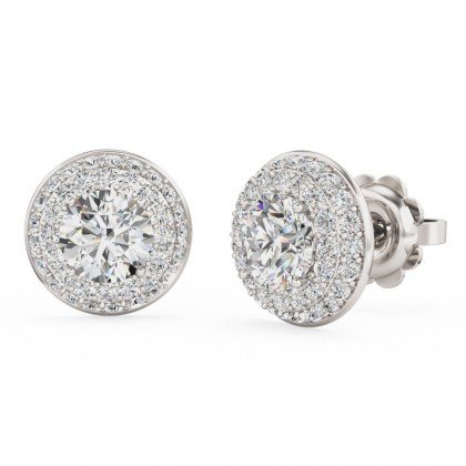 A beautiful pair of three tier hallo diamond earrings in 18ct white gold