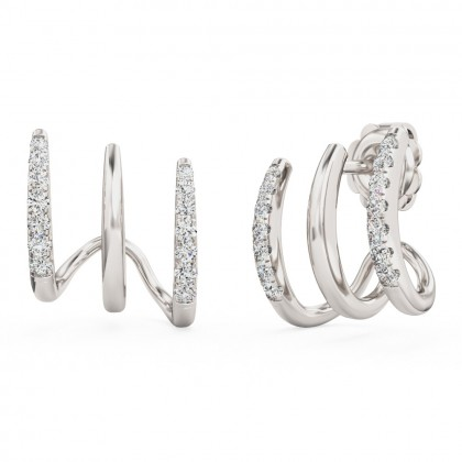 A stunning pair of brilliant cut diamond tripple huggie earrings in 18ct white gold