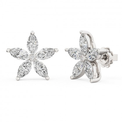 A beautiful pair of marquise cut diamond earrings in 18ct white gold