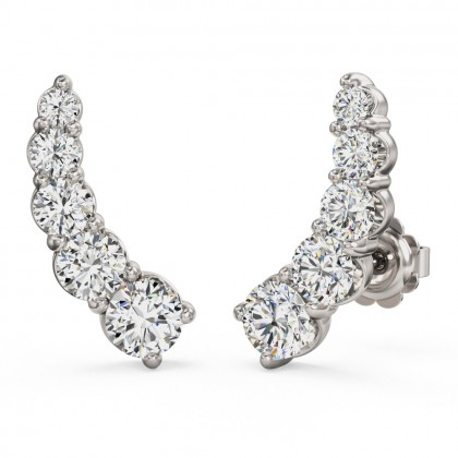 A stunning pair of diamond five stone climber earrings in 18ct white gold
