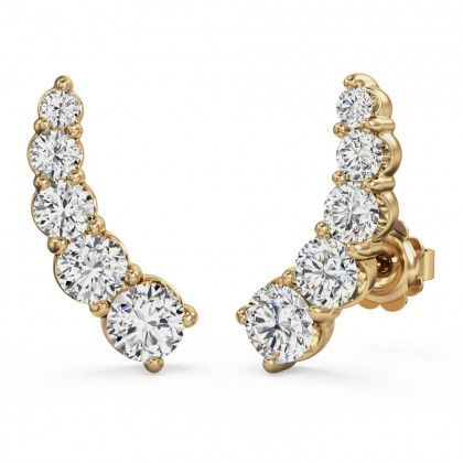 A stunning pair of diamond five stone climber earrings in 18ct yellow gold