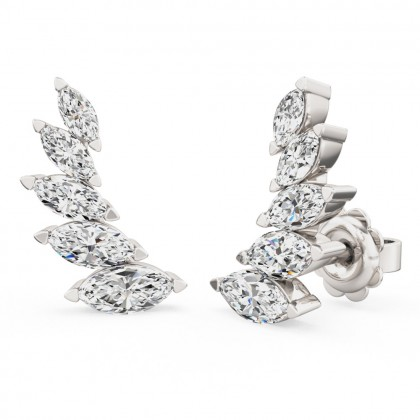 A stunning pair of marquise diamond five stone climber earrings in 18ct white gold