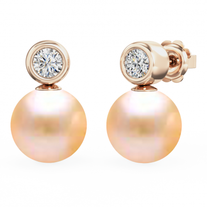An exquisite pair of Light Peach Pearl and Round Brilliant Cut diamond earrings in 18ct rose gold (In stock)