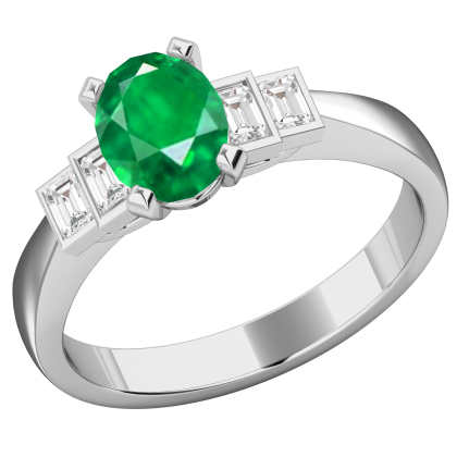 An exquisite Emerald & diamond ring in platinum
