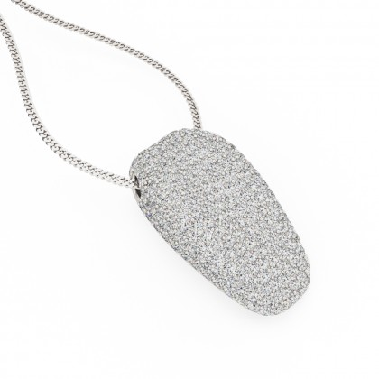 An exquiste round brilliant cut pave diamond necklace in 18ct white gold