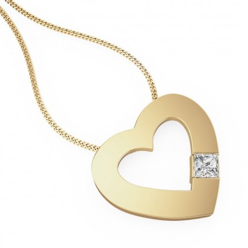 A charming princess cut diamond heart pendant in 18ct yellow gold