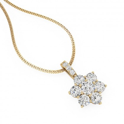 A timeless cluster diamond pendant in 18ct yellow gold