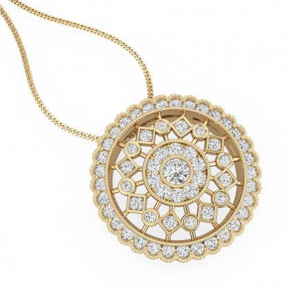 An exquiste round brilliant cut pave diamond pendant in 18ct yellow gold