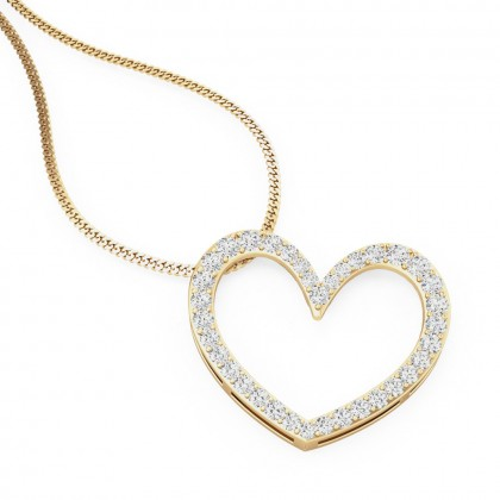 A beautiful heart shaped diamond pendant in 18ct yellow gold