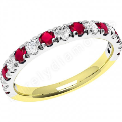 A beautiful Round Brilliant Cut ruby & diamond eternity ring in 18ct yellow & white gold