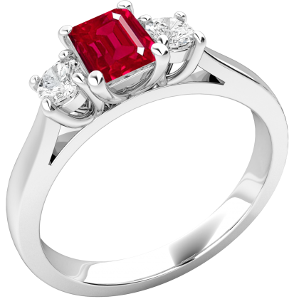 An elegant three stone ruby & diamond ring in 18ct white gold