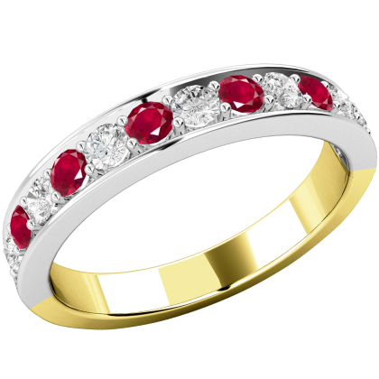 A stunning ruby & diamond eternity ring in 18ct yellow & white gold