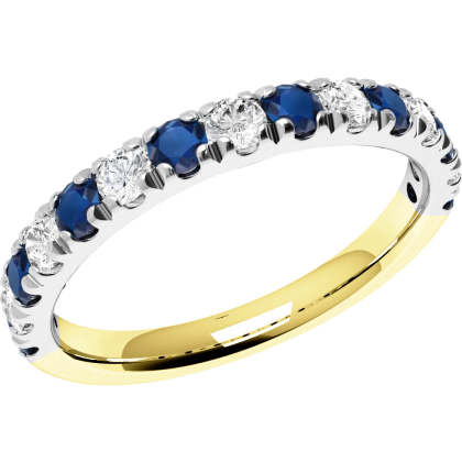 A beautiful Round Brilliant Cut sapphire & diamond eternity ring in 18ct yellow & white gold