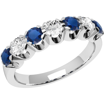 An elegant sapphire & diamond seven stone eternity ring in 18ct white gold (In stock)