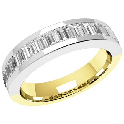 An elegant Baguette Cut diamond set wedding ring in 18ct yellow & white gold