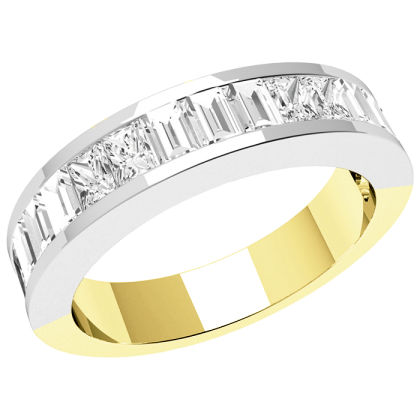 A stylish Princess & Baguette Cut diamond set ladies wedding ring in 18ct yellow & white gold