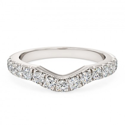 A Round Brilliant Cut diamond set wedding/eternity ring in 18ct white gold