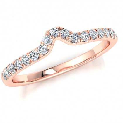 A made to match diamond set shaped wedding ring in 18ct rose gold