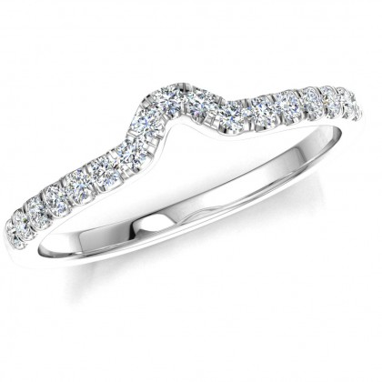 A classic Round Brilliant Cut diamond set ladies eternity/wedding ring in platinum